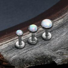 Fire Opal Internally Threaded Steel Labret (tragus, helix, cartilage, lip ring)