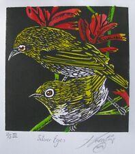 "LYNN KEATING AUSTRALIAN BLACK INK LINOCUT ""SILVER EYE BIRDS"" HAND COLOUR 2014"