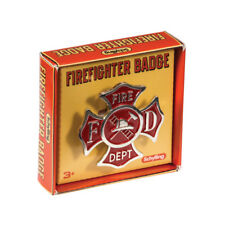 Schylling Toys Firefighter Badge #FDB  Pretend, Imaginative, Role Play, Tin, Red
