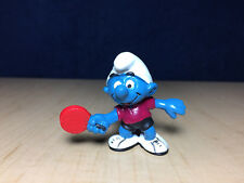 Smurfs 20227 Table Tennis Smurf Ping Pong Rare Maroon Shirt Vintage Figure Toy