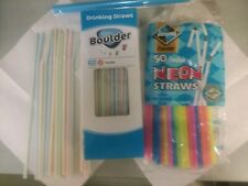 New Colorful Drinking Straws Assorted Lot of 130+ Straws!