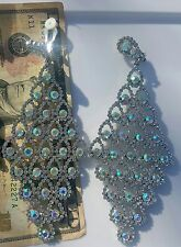 CLIP ON Iridescent SILVER triangle RHINESTONE  earring drag Queen beauty pageant