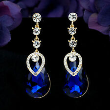 18K Gold Plated GP Blue Crystal Rhinestone Drop Chandelier Dangle Earrings2955