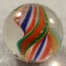 """BIG RARE EARLY GERMAN NAKED DOUBLE RIBBON CORE SWIRL MARBLE > 1"""" (1.038"""") MINTY"""