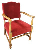 Vintage 1940s Walnut Directoire Inspired Arm Chair Red Velour Upholstered Seat