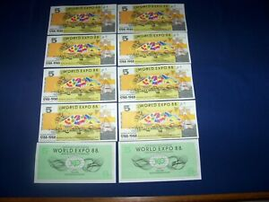 Lot of 10 Notes from Australia World Expo 88 $5 Uncirculated
