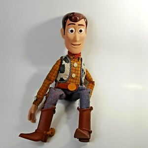"""Disney Pixar Toy Story 16"""" Woody Doll Pull String Non Working Missing Hat"""