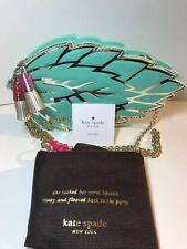 NEW Kate Spade Full Plume Mint Leaf Leather Clutch or Crossbody Bag Gold Tassels