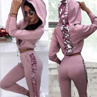 Pink Print Tracksuits Women Two Piece Set Spring T-Shirt Top And Pants Set Suits