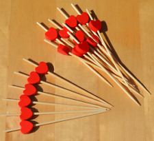 Red Heart Canape Cocktail Sticks wood skewers 9cm x 100