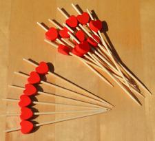Coeur rouge canape Cocktail Bâtons en Bois brochettes 9 cm x 100