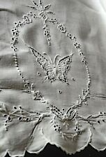 Vintage Linen Hand EMBROIDERED TABLECLOTH & 12 Napkins with BUTTERFLIES and Flow