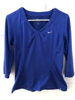 Nike 3/4 Sleeves Women's Long Sleeve V Neck Fitted Tennis Top Shirt Size Large