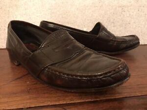 VINTAGE BROWN 70174 LEATHER DRESS SHOES•USA-Men 10 Penny Loafer Oxford Slip On