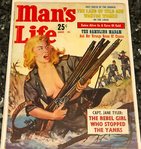 10x13 Man Cave Poster 1960s REBEL GIRL, MAN'S LIFE magazine COVER Garage Art