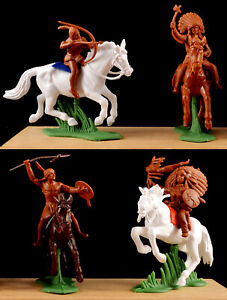 DSG Mounted Indians - Britains Herald - 54mm Unpainted Plastic - colors may vary