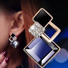 Vintage lange quadratische Kristall Ohrring große geometrische Ohrstecker
