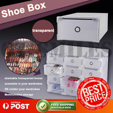 20pcs Clear Shoe Boxes Stackable Storage Drawer Foldable Shoe Case Home Wardrobe