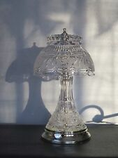 "Vintage 24% Hand Cut Lead 13"" Tall Crystal Table Lamp Made Yugoslavia 6 Pounds"