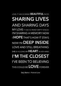 Gary Barlow - Forever Love - Black Song Lyric Art Poster - A4