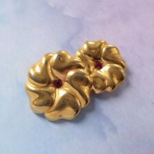 New Gold Tone Metal Pink Crystal Double Blossom Flower Brooch