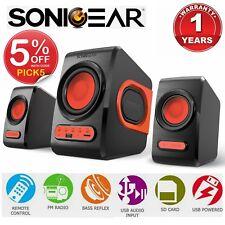 Computer Speaker SonicGear QuatroV USB FM Radio Subwoofer 2.1 PC Bluetooth Red