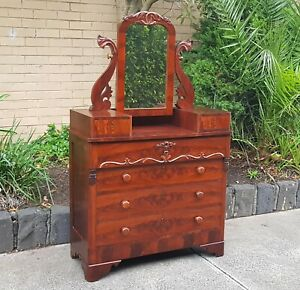 Antique Victorian European Dressing Table, Chest of Drawers Secret Drawer 1860's