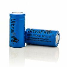 2x UltraFire 16340 (CR123A) Akku Batterien 1200mA 3,6V Li-Ion Wiederaufladbare
