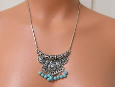 Fantastic ANTIQUED SILVER TONE FILIGREE BIB STATEMENT NECKLACE w/Turquoise Beads