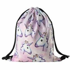 Unicorn Pattern Drawstring Gym Bag Cute Backpack Gift for Girls