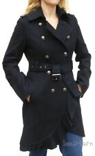 GUESS Womens Coat Black Wool Military Jacket Ruffled L Large New NWT