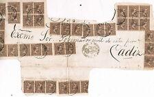 España. Gran frente de carta franqueado con 41 sellos Alfonso XIII tipo pelón