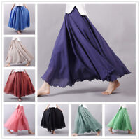 Women Cotton Linen Long Skirt Bohemia Elastic High Waist Skirt Women Beach Skirt