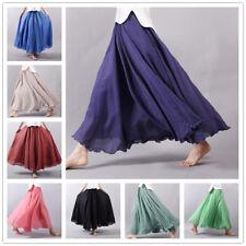 Fashion Women Long Maxi Skirt Elastic High Waist Cotton Linen Casual Beach Skirt