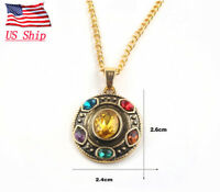 US SHIP Avengers 4 Endgame Thanos Infinity Gauntlet Necklace Cosplay Jewelry