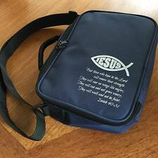 Navy Bible Bag Blue Cover Jesus fish Isaiah 40:31 Church Christian gift