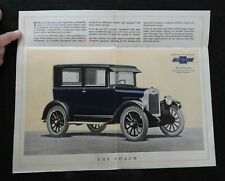"""1925 CHEVROLET """"The Coach"""" Fold-Out Color SALES BROCHURE Rare & Nice"""