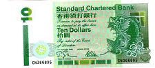 Hong Kong Standard Chartered $10 1995 UNC