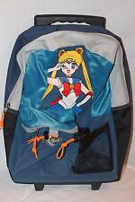 """NEW WITH TAGS  VINTAGE SAILOR MOON  BLUE  ROLLING BACKPACK 17"""" X 12"""""""