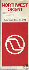 Airline Timetable - Northwest Orient - 01/04/72