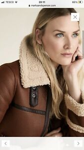 M&S Faux Shearling Borg Lined Aviator Jacket Size 14 New