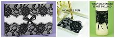 Ivory Cream & Black Lace Wedding Guest Book & Pen Set w/ FREE CANDLE WRAP