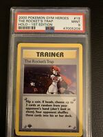 The Rocket's Trap Holo 1st Edition Gym Heroes Pokemon 19/132 PSA 9 Mint SWIRL