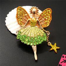 Girl Fairy Angel Wing Brooch Pin New Betsey Johnson Crystal Green Yellow Ballet