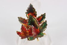 COSTUME CANADA PLUME ENAMEL COLORED FALL LEAVES BROOCH FASHION 0101