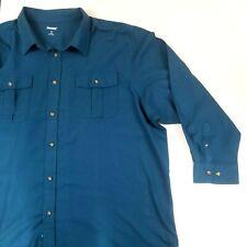 Kingsize 4XL Big Man Blue Flannel Button Down Long Sleeve Shirt