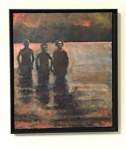 Painting by Eva McCauley Titled Night Swim Dated 1999 Oil & Wax on Panel