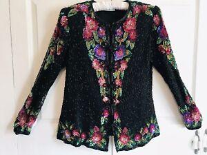 Vintage Brilliante By JA Black 100% Silk Floral Sequin Beaded Evening Jacket L