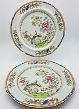 More details for antique spode peacock plates early 19th century stone china marks x 2 circa 1805