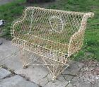 VINTAGE ANTIQUE VICTORIAN TWISTED WIRE FAN BACK GARDEN BENCH